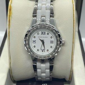 Gently Used Anne Klein Ladies Watch White/Diamonds